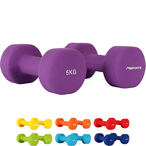 MSPORTS Manubri Pesi Neoprene da 0,5 a 5 kg Set - Peso e Colore a Scelta + PDF Workout (5 kg - Viola)