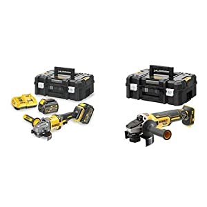 DEWALT CPROF594 – KIT XR FLEXVOLT = DCG414T2 Amoladora 125mm 54V 2 bat 54V/18V Li-Ion 6Ah+DCG405NT Mini-Amoladora sin escobillas XR 18V 125mm sin carg/bat con Freno,Embrague,Arranque Suave,TSTAK II