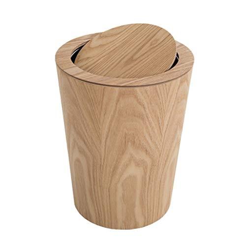 Im Freien Abfalleimer Papierkörbe Holzabfalleimer mit 10 Liter zylindrischem Papierkorb Mülleimer mit Deckel Müllcontainer (Color : Yellow, Größe : 10liters)
