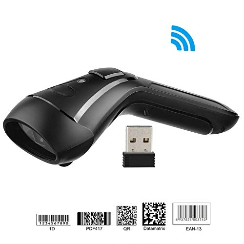 QCHEA Wireless 2D Barcode Scanner,3-in-1 Compatible with Bluetooth Function & 2.4GHz Wireless & Wired,QR PDF417 Data Matrix UPC Rechargeable Bar Code Scanner for Laptops/PC/Android/Apple iOS