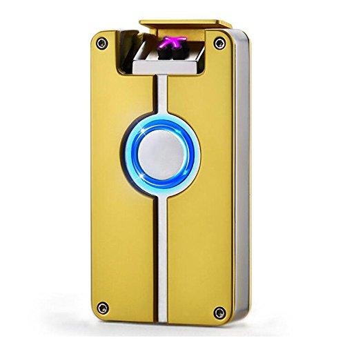 Oumosi Oumosi Flammenloses Lichtbogenfeuerzeug aus Metall, wiederaufladbar, mit USB-Anschluss für Heimgebrauch gold Gold