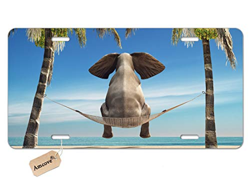 Amcove License Plate Elephant Sitting in a Hammock on The Beach and Look at sea License Plate Aluminum Metal License Plate Car Tag Novelty Home Decoration for Women Girls Men Boys 6 inch X 12 inch