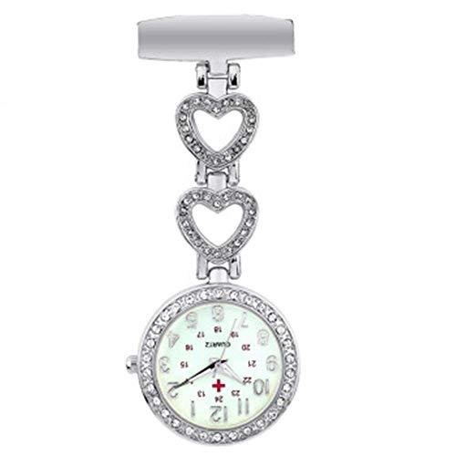 Water cup Reloj de Bolsillo Vintage Reloj de Enfermera Reloj Colgante de Cuarzo para médicos Reloj de Pecho de Enfermera con Vida Impermeable Fácil de Leer Fácil de Llevar (Color: Plata, Tam