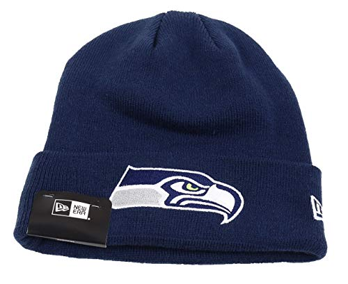 New Era Seattle Seahawks Beanie - Team Essential Cuff Knit - Navy - One-Size