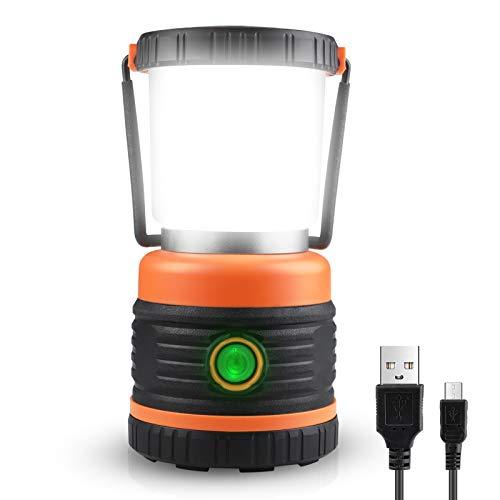 Unicozin LED Campinglampe, Wiederaufladbar mit USB, 3 Helligkeiten Dimmbar, Ultrahell 800 Lumen Kaltweiß Licht, Suchscheinwerfer für Camping, Angeln, Abenteuer, Notfall Stromausfällen