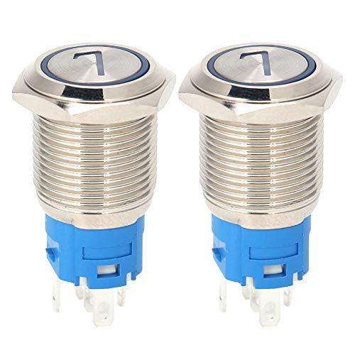 wxf Interruptor De Botón De Acero Inoxidable De 5 Clavijas Interruptor De Auto-reinicio De 16 Mm con Luz Y Amplificador; Número 7 24vdc Azul 2pcs