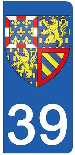 DECO-IDEES 2 Stickers pour Plaque d'immatriculation, 39 Jura - Stickers Garanti 5 Ans
