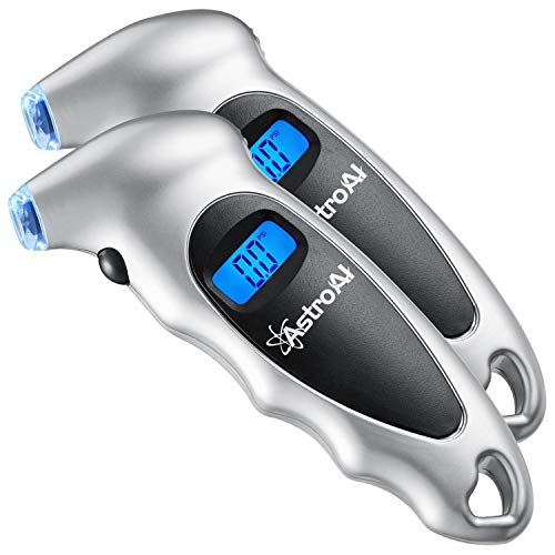 AstroAI 2 Pack Digital Tire Pressure Gauge 150 PSI 4 Settings for Car Truck Bicycle with Backlit LCD and Non-Slip Grip, Silver (Renewed)