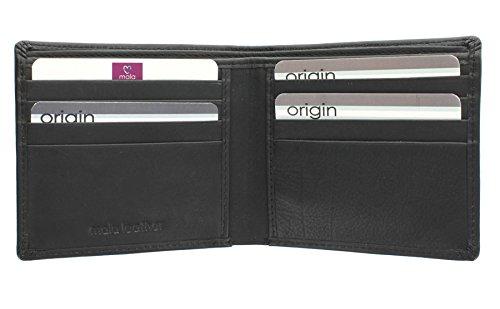 Mala Leather Colección Origin Cartera Bi-Fold de Cuero con Protección RFID 110_5 Negro