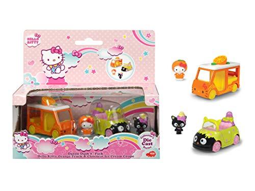 Dickie Toys Hello Kitty Orange + Chocolat Ice Cream - Coche de Juguete (2 Unidades, Aluminio Fundido, Figuras extraíbles, Longitud del vehículo: 6 cm, tamaño de la Figura: 2,5 cm, a Partir de 3 años)