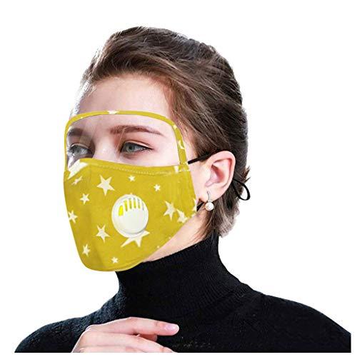 Auifor Adult bequem Wiederverwendbare atmungsaktive Bandana mit Schild, schützen Nasen Winddicht, mit Atemventil, 5PCS +10 Filter(Gelb,5PC + 10filters)