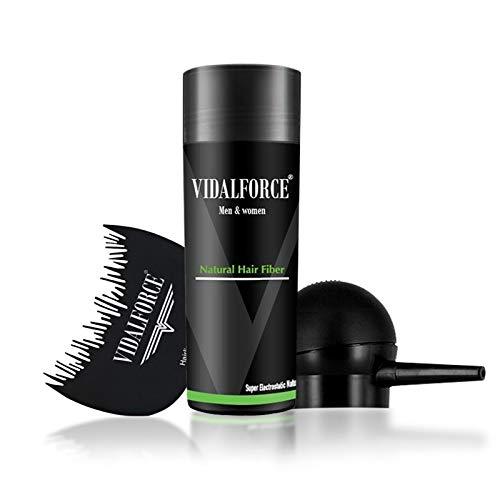 VidalForce ⏤ Full Pack (Bomba + Optimizador + Fibras Queratina) ⏤ Polvos de volumen cabello hombre y mujer, Fibra de pelo   Microfibras Capilares Castaño Oscuro (27,5 gr)  