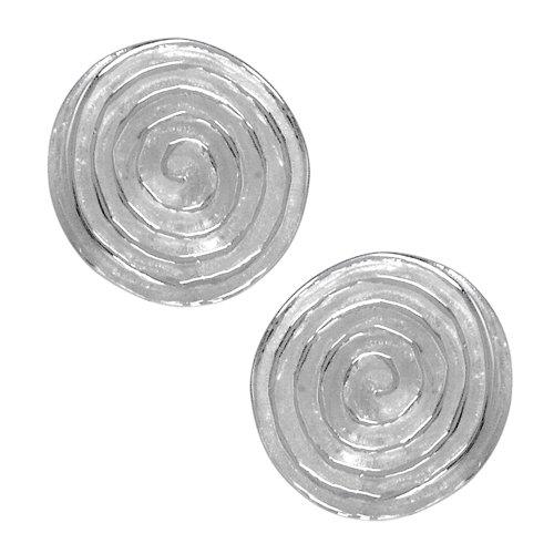 Vinani Ohrstecker Kreis Spirale mattiert glänzend Sterling Silber 925 Ohrringe OSA