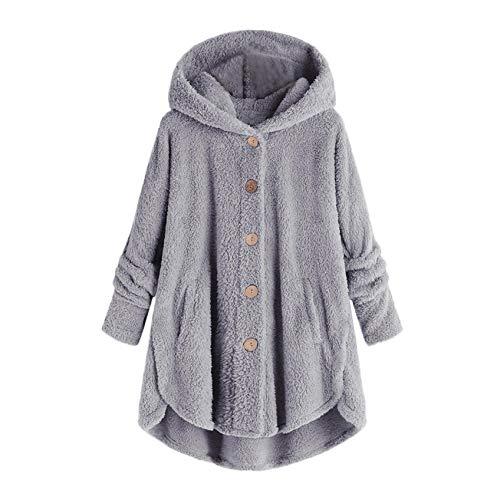 Damen Fleece Kapuzenmantel Unregelmäßiger Saum Knopf Tasche Plus Size Jacke