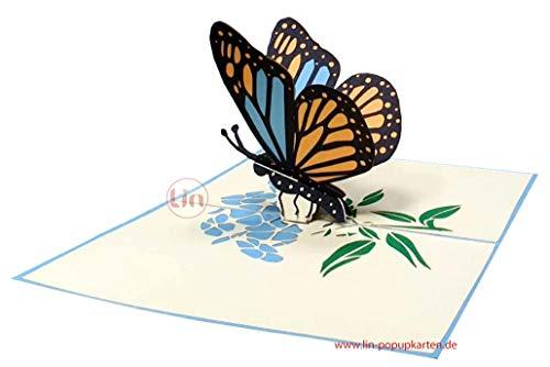LIN 17656, Pop Up Karte Schmetterling, Pop Up Karte Geburtstag, Pop Up Geburtstagskarte, 3D Karten Natur, Geburtstagskarten, Muttertagskarten, Grußkarte Schmetterling, Blau, N382