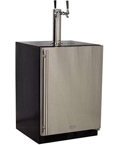 Marvel Built-In Kegerator Keg Dispenser - X-CLUSIVE Premium 2-Tap Direct Draw Kit - Black/Stainless