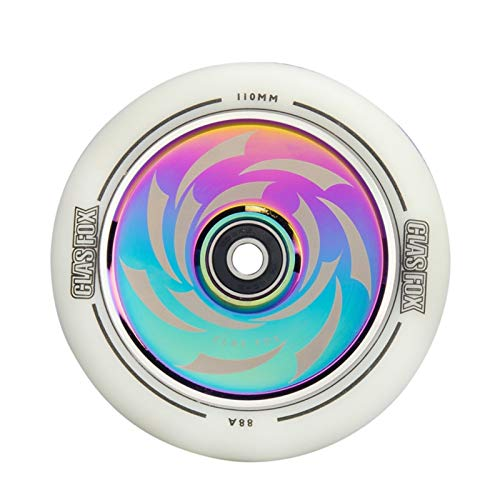 QXYOGO Ruedas Patinete 2 unids Aluminio Freestyle Stunt Scooter Wheels PU Wheels Raíz Scooter Rueda 110mm 1 (Color : White PU Rainbow)