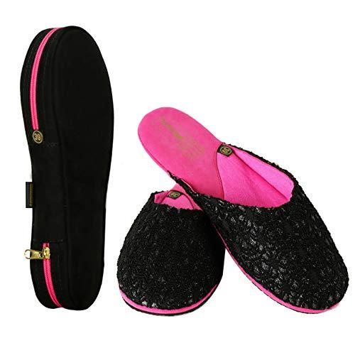 Reisschoenen in etui, vliegaccessoires, slippers dames, reis-gadget - voor de handtas - handbagage vliegtuig, vouwbare huisschoenen, reizenslappen vlieghotel auto, pantoffels voor/na evenementen
