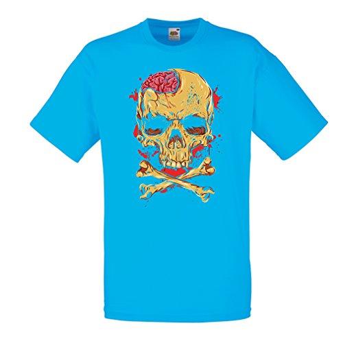 lepni.me Camisetas Hombre La Calavera (Medium Azul Multicolor)