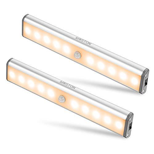 Bewegungssensor Schrank Leuchten, 10 LED kabellose Unterschrank Leuchte mit eingebautem Akku, überall aufklebbar Magnetische Nachtbeleuchtung für Küchenschrank, Warmweiß