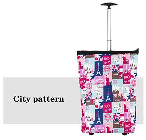 YWXLC Handwagen Gepäckrollen, Einkaufstaschen, Lebensmittel Faltbarer tragbarer Einkaufswagenkoffer faltender Handwagen (Muster : C)