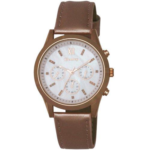 Henley da donna, oro rosa, orologio al quarzo con display analogico in madreperla e cinturino in similpelle bianca h06066.5