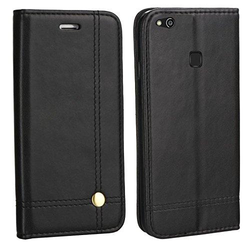 MOELECTRONIX Edle Buch Klapp Tasche SCHWARZ Flip Book Hülle Schutz Hülle Etui passend für Huawei P10 Lite was-LX2 LX1 LX1A