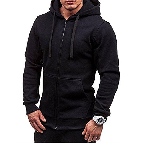 Frecoccialo Felpe con Cappuccio da Uomo Felpa con Cappuccio Slim Fit Outwear Maglione Caldo Jacket Giacche Sportive da Uomo (Nero B, M)