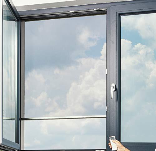 Fliegengitter Elektrorollo für Fenster - großes 83mm x 83mm Gehäuse - max. 1,5 m Breite und 1,5 m Höhe - einfache Montage - Insektenschutz Rollo