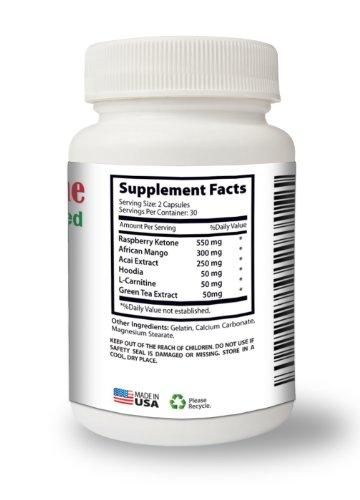 Raspberry Ketones Advanced | 550mg Raspberry Ketone, 300mg African Mango, 250mg Acai Extract, 50mg Hoodia | 60 capsules - 30 servings | Strongest on Amazon!