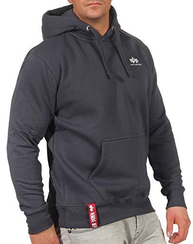 ALPHA INDUSTRIES Herren Basic Hoody Small Logo Sweatshirt, 136 Grey/Black, M