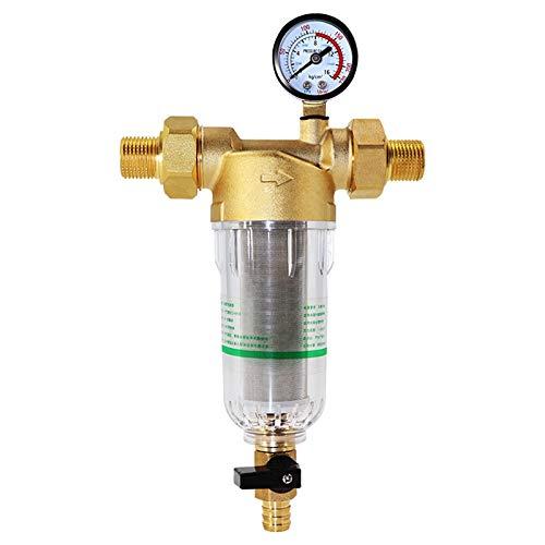 OVBBESS Sistema de filtro de agua pre 2/5 pulgadas y 1 pulgada de latón de malla Prefiltro purificador W/reductor y indicador