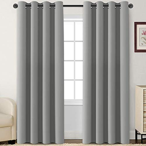 Flamingo P Blackout Curtains 84 Inch Length 2 Panles Set Thermal Insulated Light Blocking Soft Thick Grommet Curtain Drapes for Bedroom/Living Room Home Decoration Window Draperies, Dove Grey