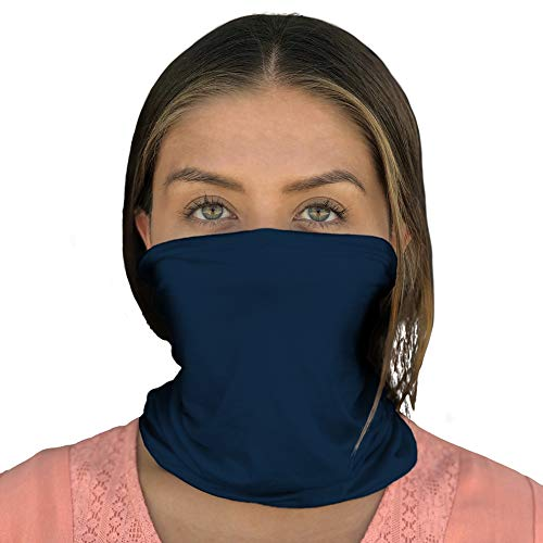 Happyluxe Face Shield, Neck Gaiter,  Breathable Mask, UPF 50+, Made in the USA (Navy Blue)