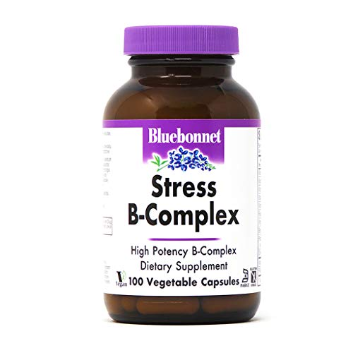 Bluebonnet Nutrition Stress B Complex Vegetable Capsules, Vitamin B6, B12, Biotin, Folate, Stress Relief, Vegan, Vegetarian, Gluten Free, Soy Free, Milk Free, Kosher, 100 Vegetable Capsules