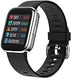 SNFHL Fitness Tracker, Montre Intelligente Étanche, avec Moniteur de Fréquence Cardiaque/Oxymètre de Pouls/Moniteur D'oxygène Sanguin/Tensiomètre,Black