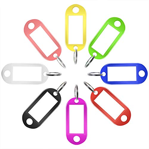 50 Stück schlüsselanhänger beschriftbar Schlüsselschilder beschriftbar schlüsselanhänger zum beschriften Schlüsselschild Bunt mit Ring Auswechselbare Etiketten