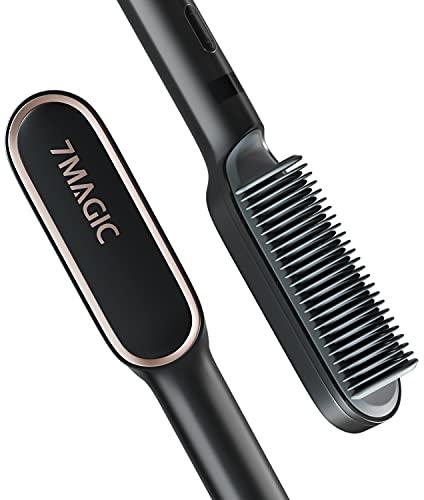 Hair Straightener Brush, Straightening Brush with 9 Temp Settings, 20s Fast Ceramic Heating Hair Brush Straightener, 7MAGIC Brush Straightener with Anti-Scald & Auto-Off Safe for Women