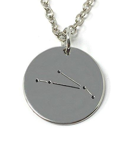 Zilveren-Toon 'Ram' Gegraveerd Hanger Ketting 1.8cm Met 18 Inch Keten Ster Sterrenbeelden Dierenriem Tekens