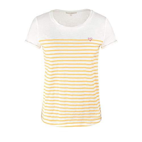 TOM TAILOR Denim Damen Streifenprint Bluse, Yellow White Stripe, L