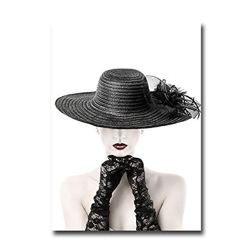 Zhengnengliang Gafas de Moda Sombrero de niña Labios Rojos Imagen de Arte nórdico Pintura en Lienzo Póster Decoración para el hogar Sala de Estar Sofá Decoración de Pared 50x70cm J-805