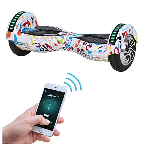 Robway W2 Hoverboard - Das Original - Samsung Marken Akku - Self Balance - 3 Farben - Bluetooth - 2 x 350 Watt Motor - 8 Zoll Reifen (Weiß Bunt)