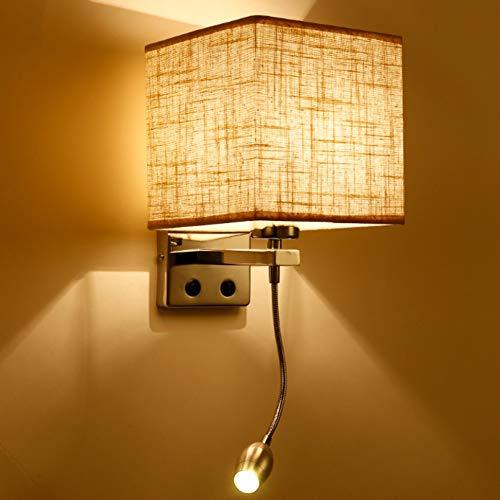 MJSM Light Wandlamp, wandlamp, bedlampje met schakelaar, leeslamp, slaapkamer, hotel, hotel, moderne minimalistische stof