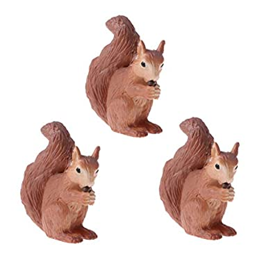 F Fityle 3 Plastic Squirrel Educational Animal Figure Model Kids Toy Gift Party Favor