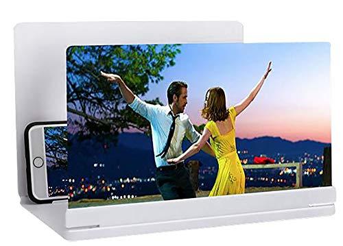 kitchen-dream Mobile Bildschirmlupe - 3D-Handyverstärkungsbildschirm - Faltbarer Desktop-Ständer Tragbares Heimkino für alle Smartphone-Modelle (Weiß)