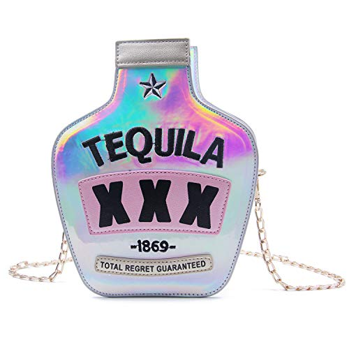 Kuang glitzernde Damen-Schultertasche in Flaschenform, elegant, laserfarben, Wein-Form, Silber (silber), Einheitsgröße