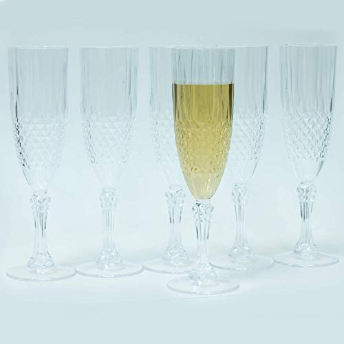 Champagne Flutes Reusable, Crystal Effect, Your Celebrations Will Have The Best Style, Diamond Clear. FREE Of Toxic Elements. 7Oz Clear Wine Glasses. Nonbreakable Toasting Glasses. 6-Pack Plastic