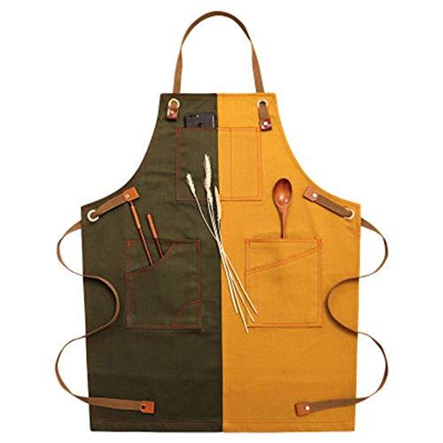 AMITD Schort dames, denim Chef keukenschort, zakschort, koken, café, restaurant, grill en bakken verstelbare schort, Metzger tafellerenschort, schort heren oranje Doppelte Farbanpassung Dubbele kleuraanpassing.