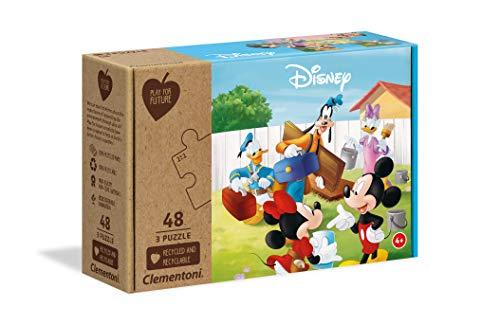 Clementoni - Play For Future - Disney Mickey Classic Puzzle per bambini 4 anni+, 3x48 pezzi, Colore Multicolore, 25256