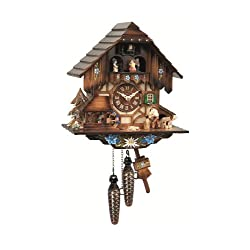 Quartz Cuckoo Clock with Musik Black Forest house with moving wood chopper and mill wheel EN 463 QMT